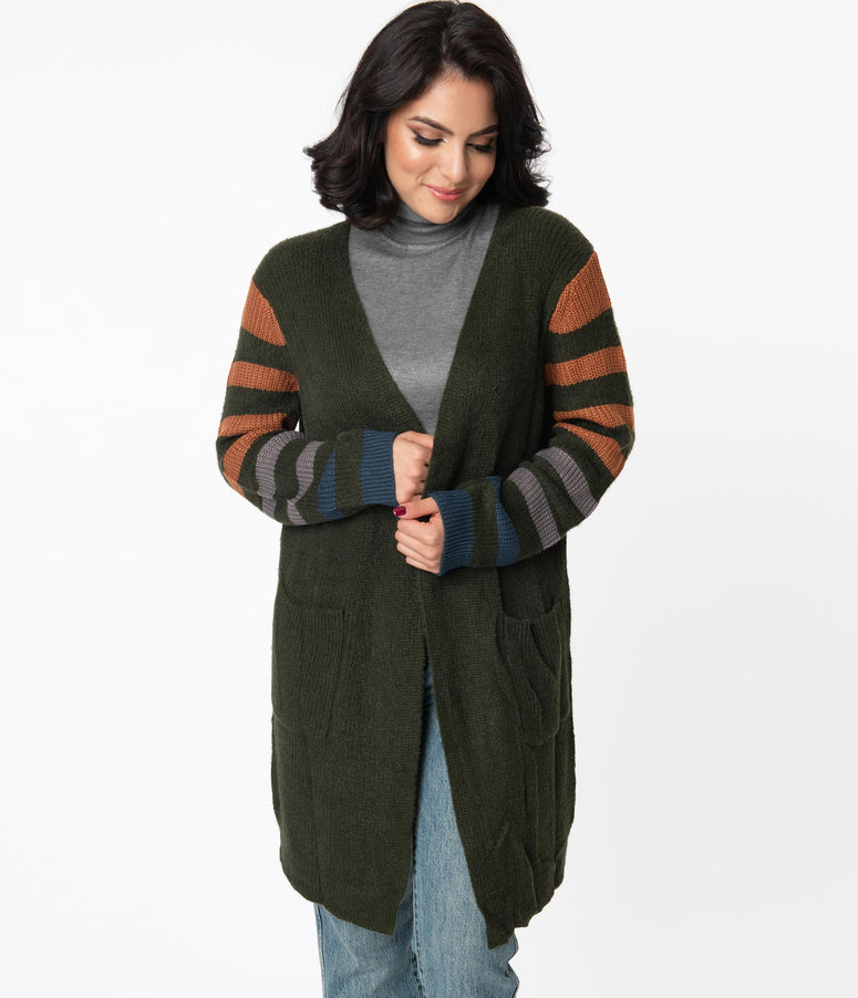 Dark Green & Brown Stripe Long Open Cardigan