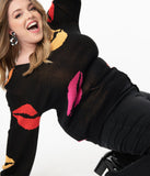 Plus Size Black & Multicolor Lips Sweater