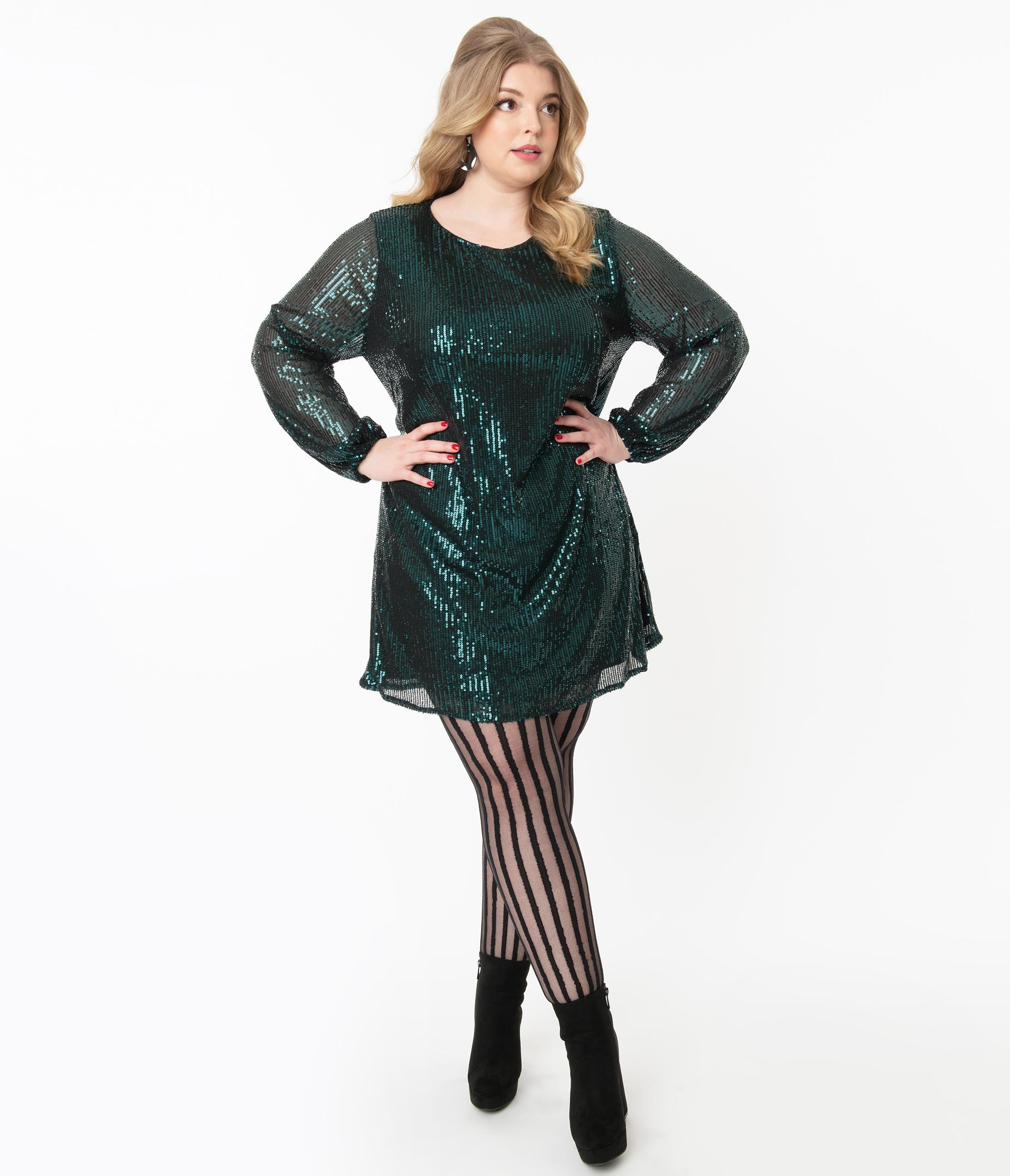 70s Prom, Formal, Evening, Party Dresses Plus Size Dark Teal Sequin Long Sleeve Shift Dress $62.00 AT vintagedancer.com