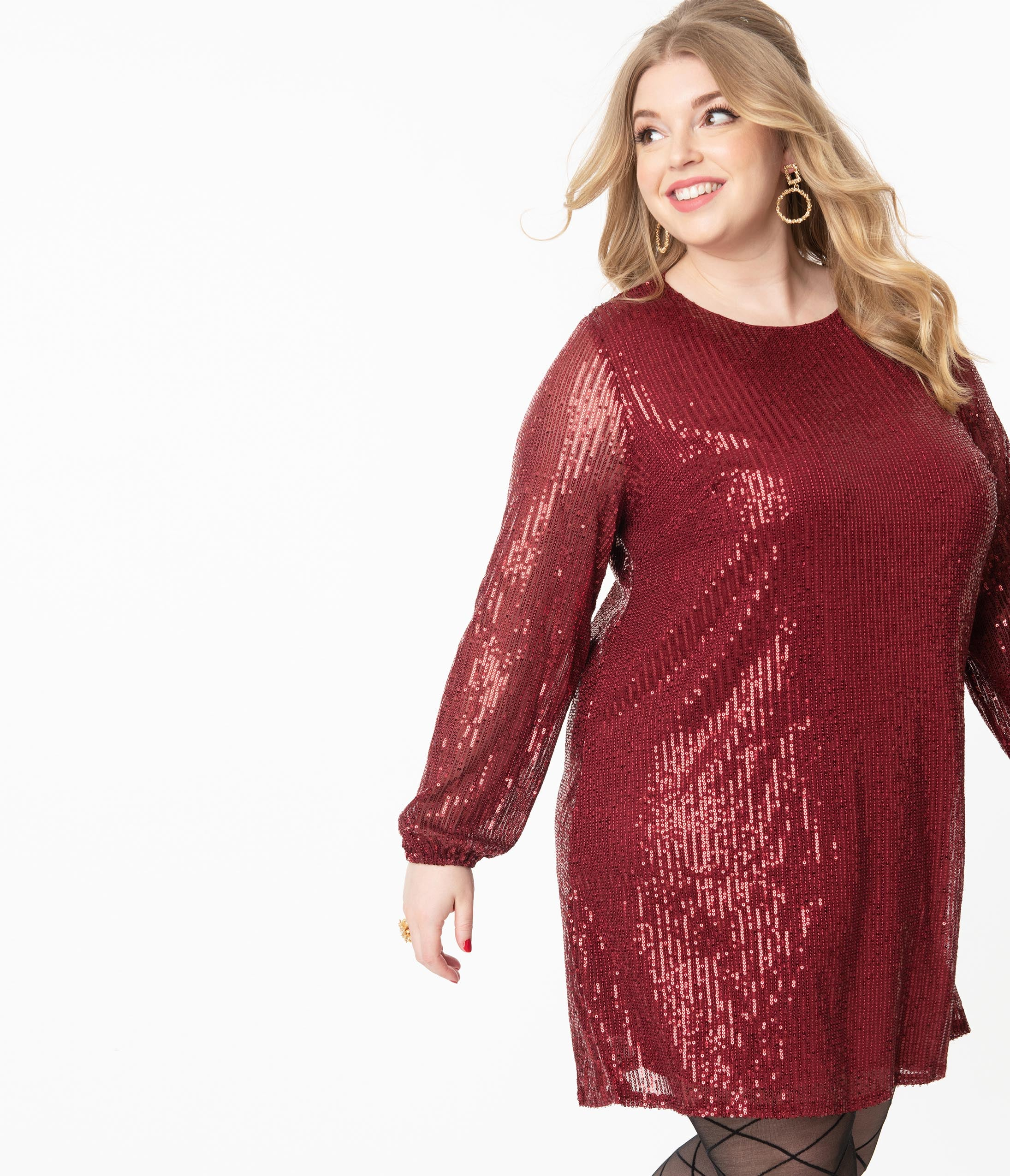 70s Prom, Formal, Evening, Party Dresses Plus Size Wine Sequin Long Sleeve Shift Dress $62.00 AT vintagedancer.com