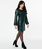 Dark Teal Sequin Long Sleeve Shift Dress
