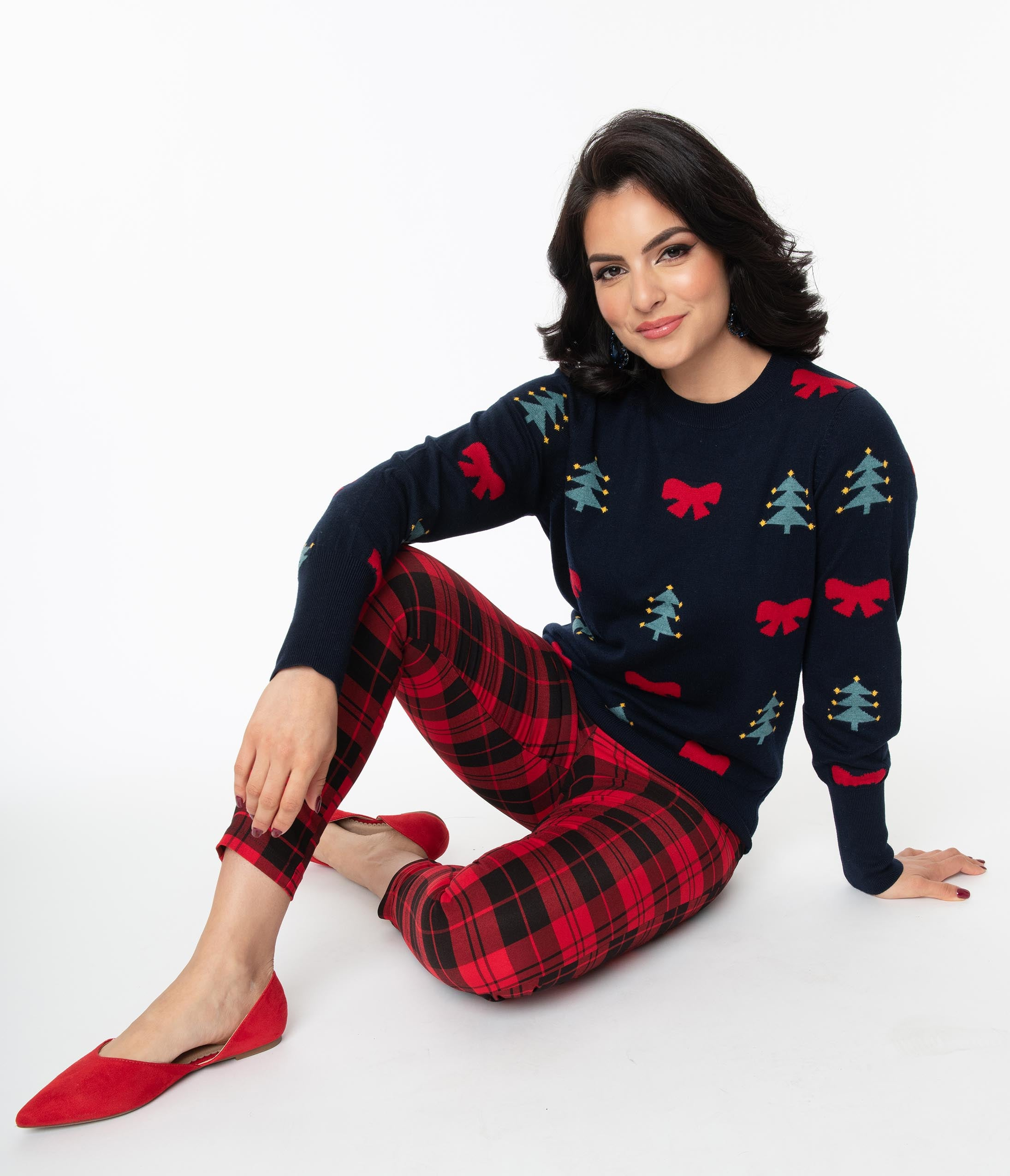 Vintage Red Dresses | Valentines Day Dresses, Outfits, Lingerie Navy Christmas Tree  Red Bow Pattern Sweater $62.00 AT vintagedancer.com