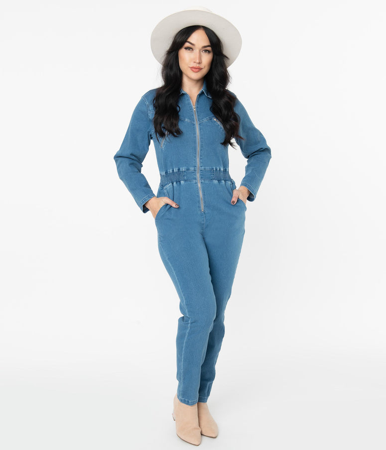 Light Blue Denim Jean Utility Jumpsuit