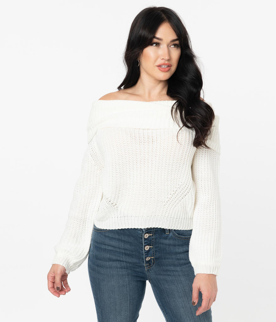 Ivory Chunky Knit Off Shoulder Sweater
