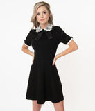 Black & White Lace Collar Fit & Flare Dress