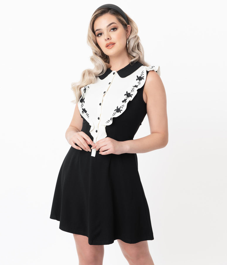 Vintage Style Black & White Ruffle Placket Fit & Flare Dress