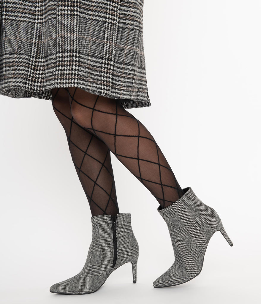 Grey Glen Plaid Fabric Stiletto Bootie
