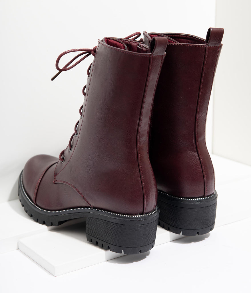 Wine Leatherette Lace Up Combat Boots