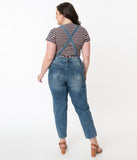 Plus Size Retro Style Denim Blue Casual Overalls