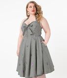 Plus Size 1950s Black Gingham & Purple Grapes Danica Swing Dress