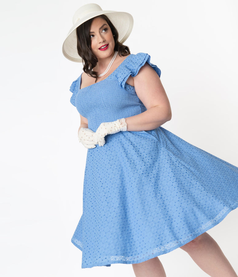 Plus Size Blue Eyelet Lace Smocked Raphaella Swing Dress