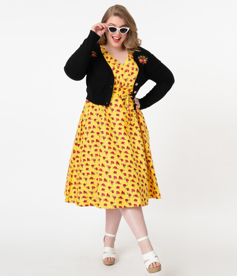 Plus Size 1950s Style Yellow & Red Floral Darcey Swing Dress