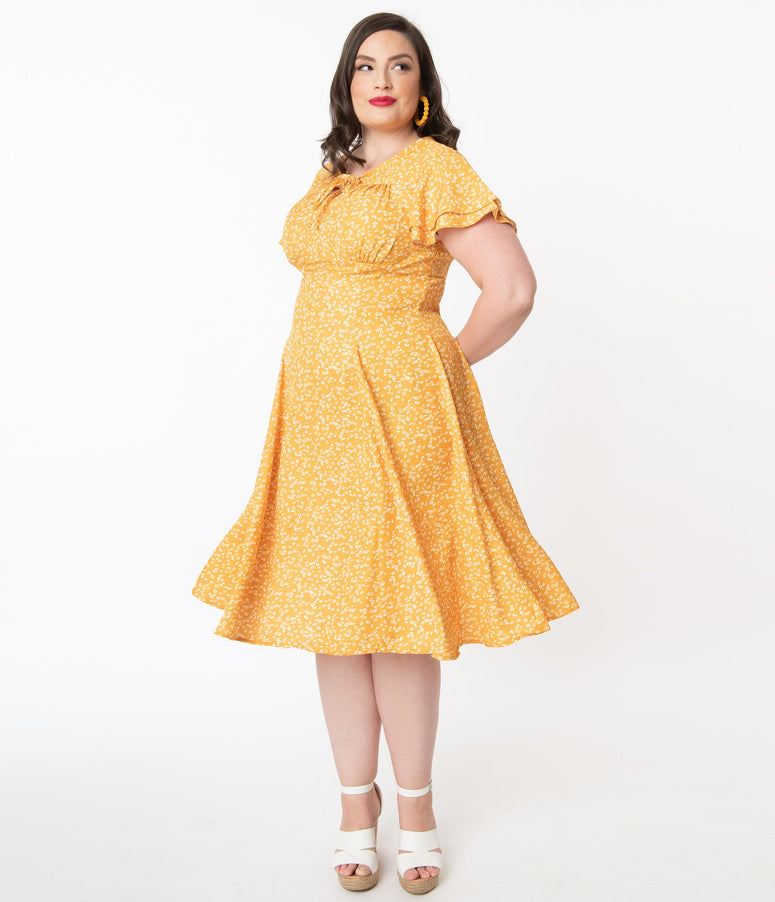 Plus Size 1950s Mustard & Ivory Ditsy Floral Print Sanj Swing Dress