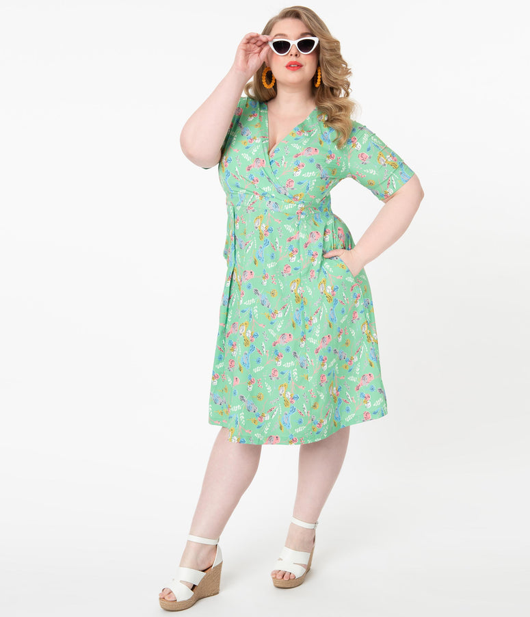 Plus Size Green & Pink Birds & Florals Print Sheila Swing Dress