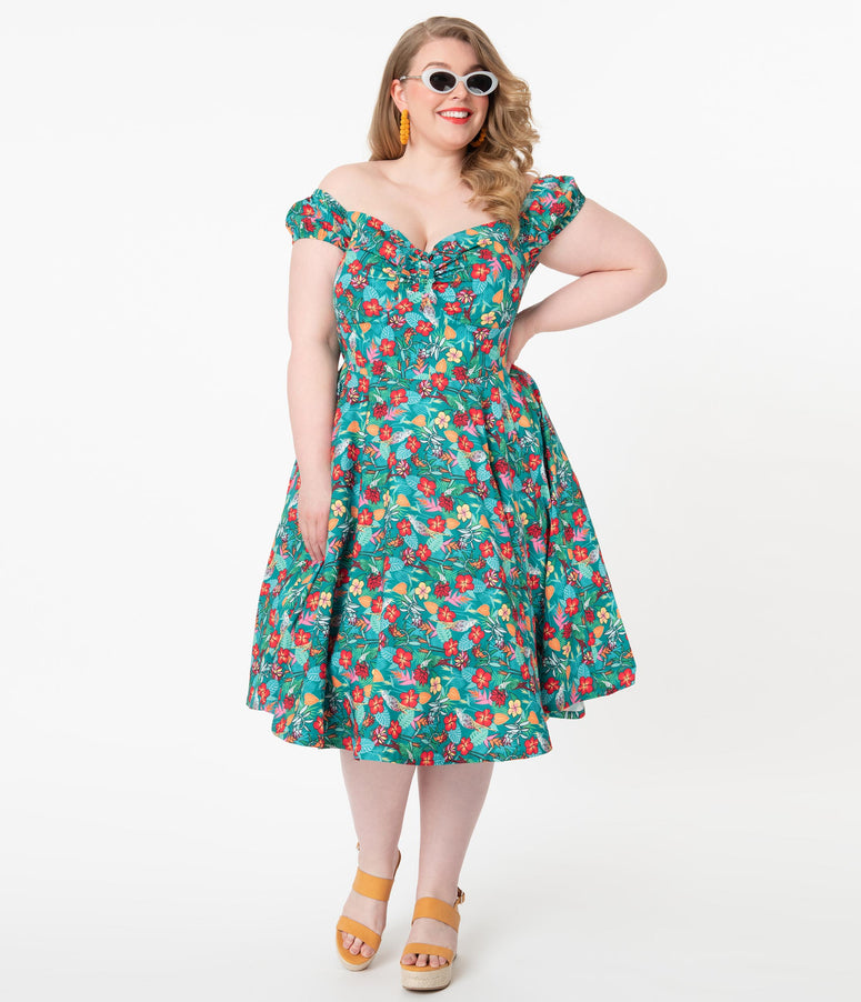 Plus Size 1950s Teal & Multicolor Tropical Floral Print Preston Swing Dress