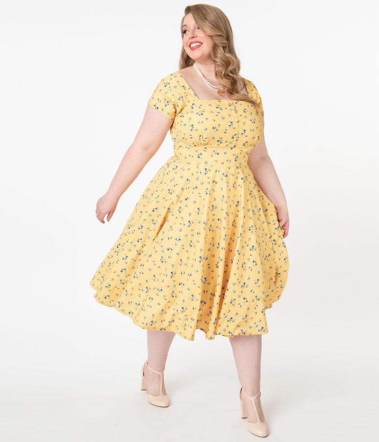 Plus Size 1950s Yellow & Blue Floral Print Seema Swing Dress