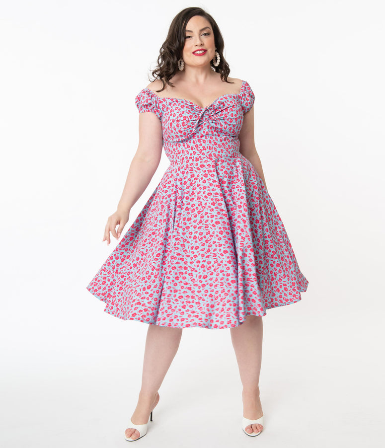 Plus Size 1950s Dusty Blue & Hot Pink Floral Print Victoria Swing Dress