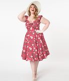 Plus Size 1950s Style Rose & Pink Floral Print Swing Dress