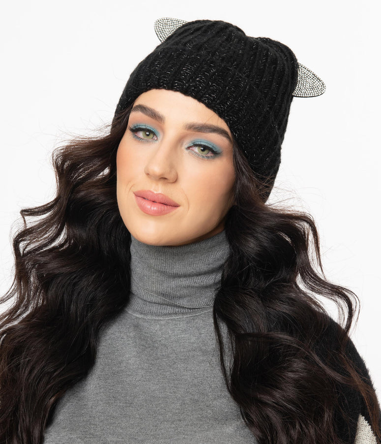 Black & Silver Cat Ear Beanie