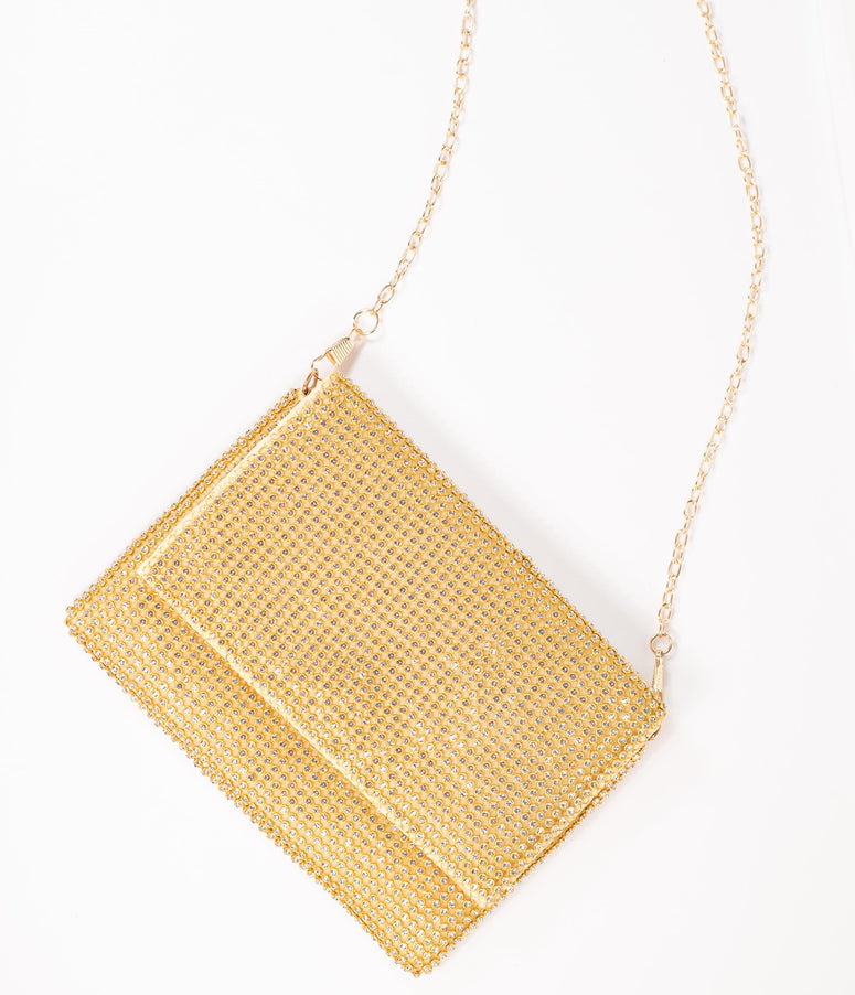 Gold & Silver Rhinestone Fold Over Clutch