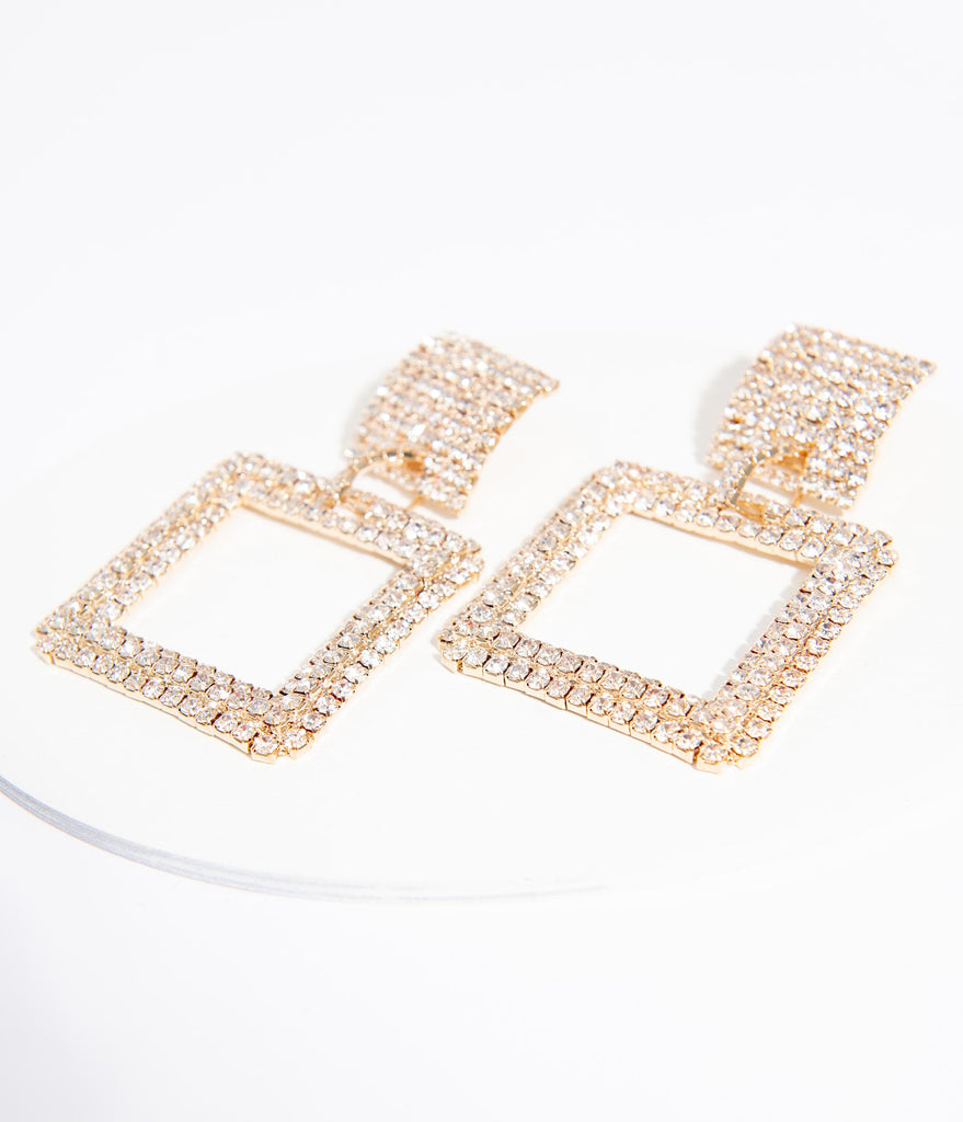 Gold & Silver Rhinestone Square Drop Earrings