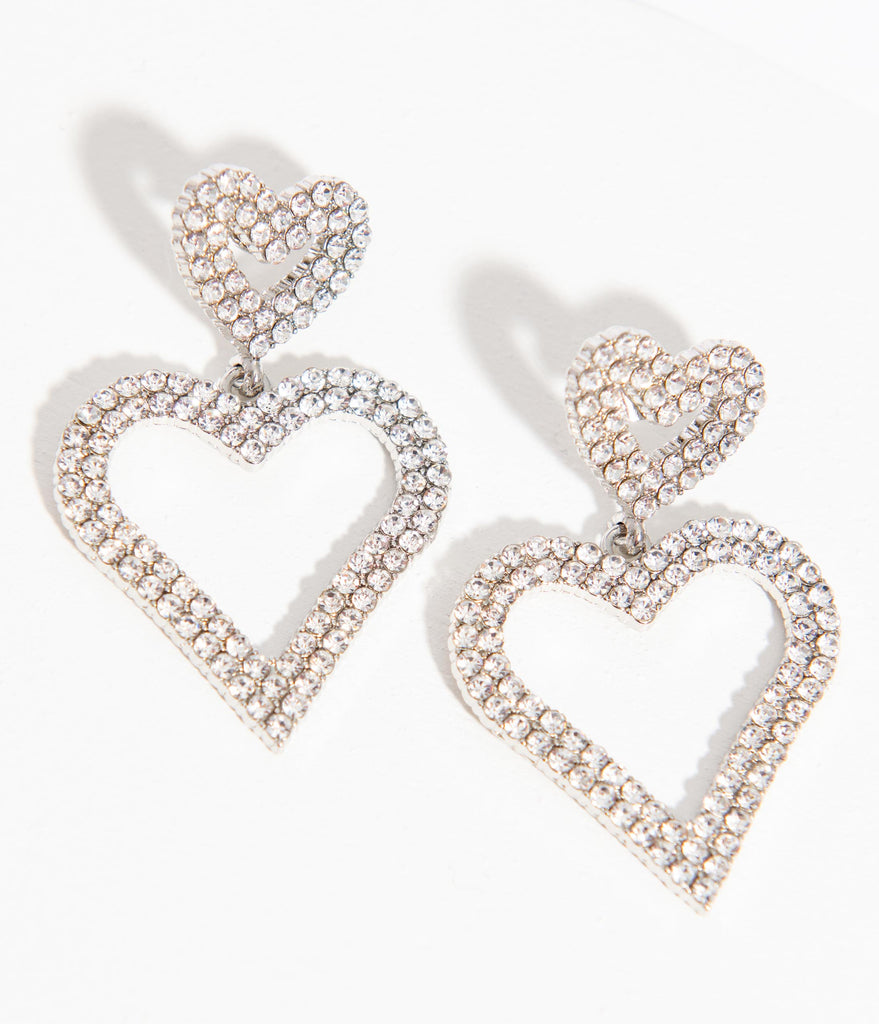 Silver Hearts Rhinestone Drop Earrings