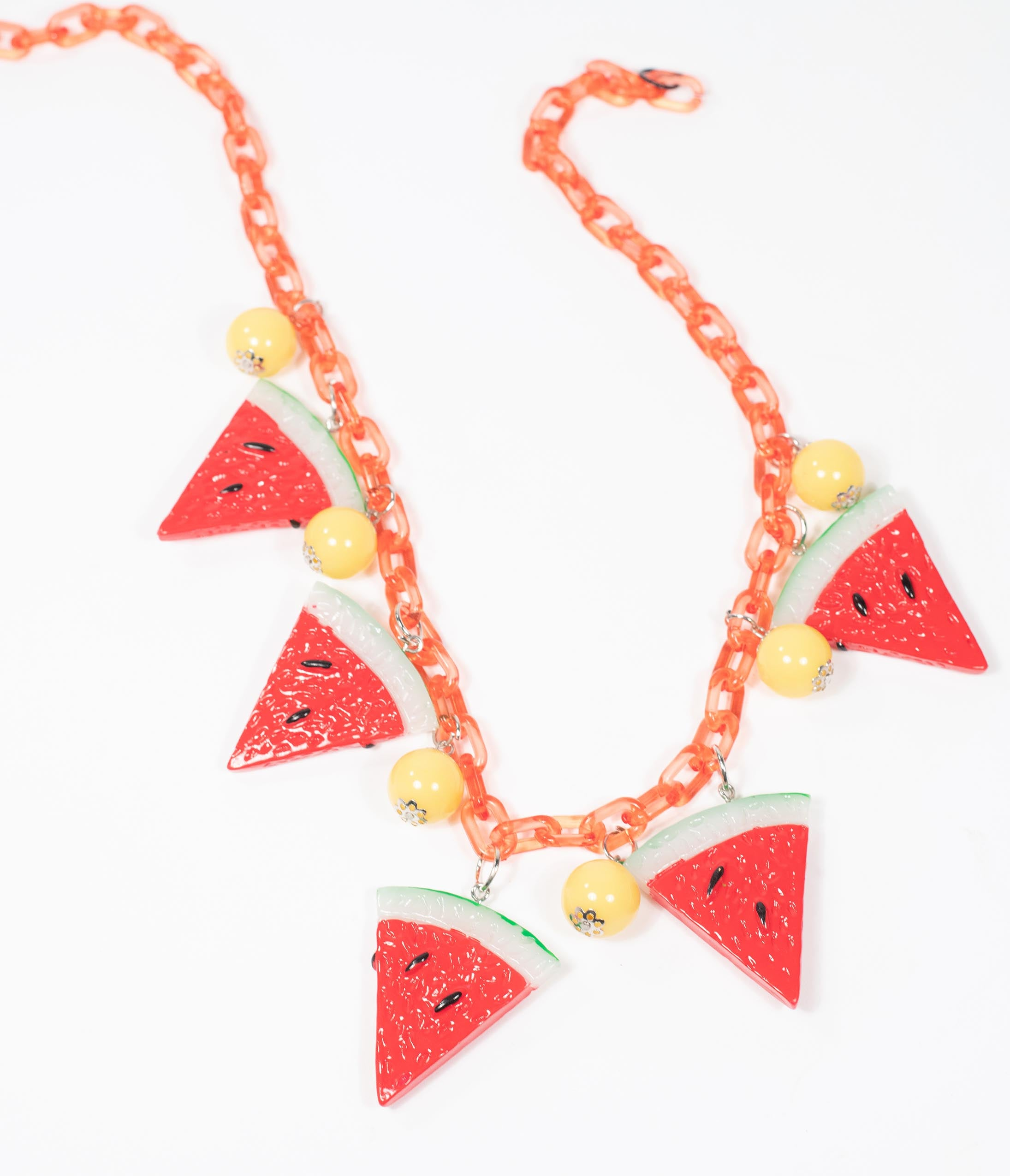 1940s Jewelry Styles and History Collectif Red Watermelon Chain Necklace $22.00 AT vintagedancer.com