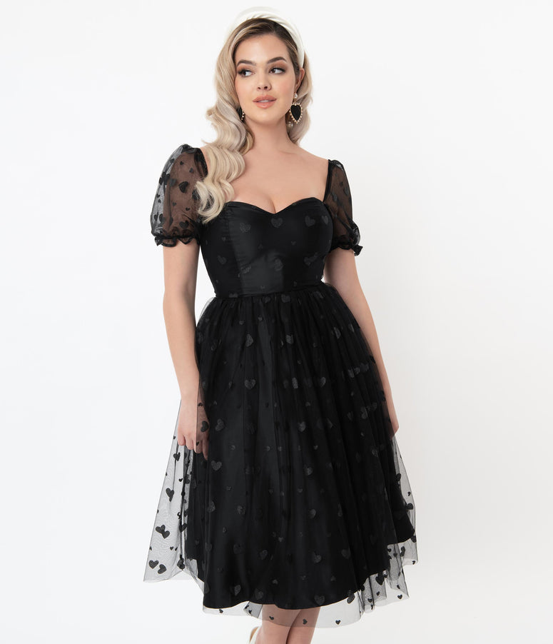 Collectif Black Mesh & Glitter Hearts Skylar Swing Dress
