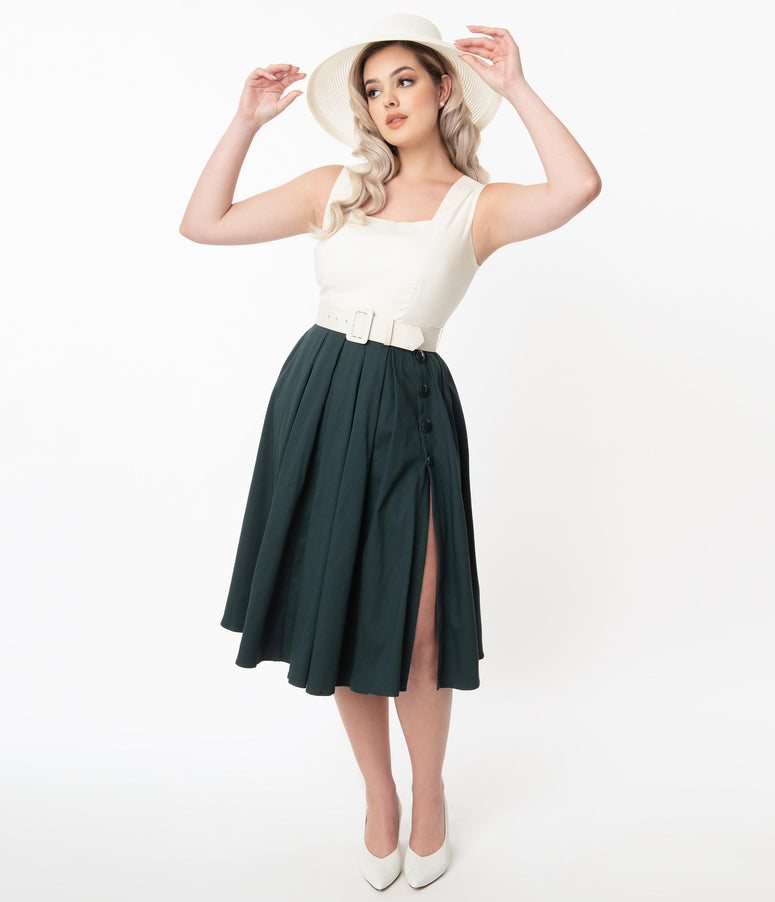 Collectif Ivory & Emerald Colorblock Cheryl Swing Dress