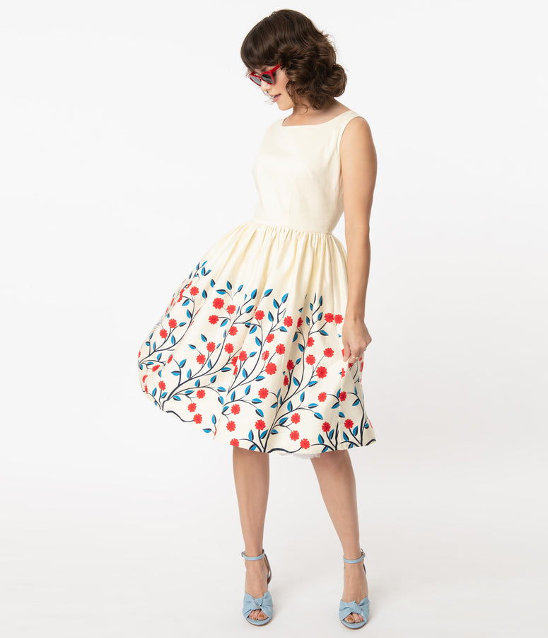 Collectif 1950s Ivory & Red Floral Border Candice Swing Dress