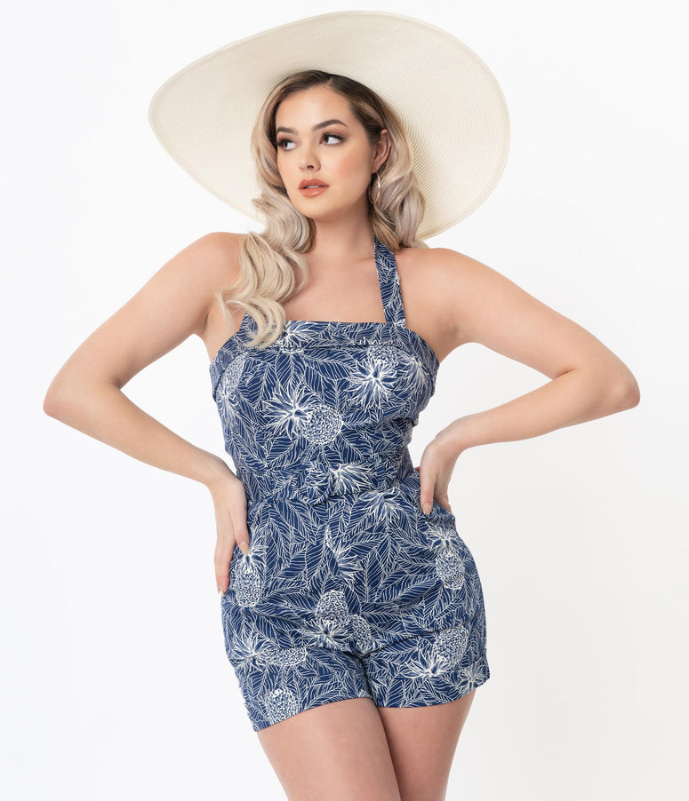 Collectif Retro Blue & White Tropical Pineapple Print Jojo Romper