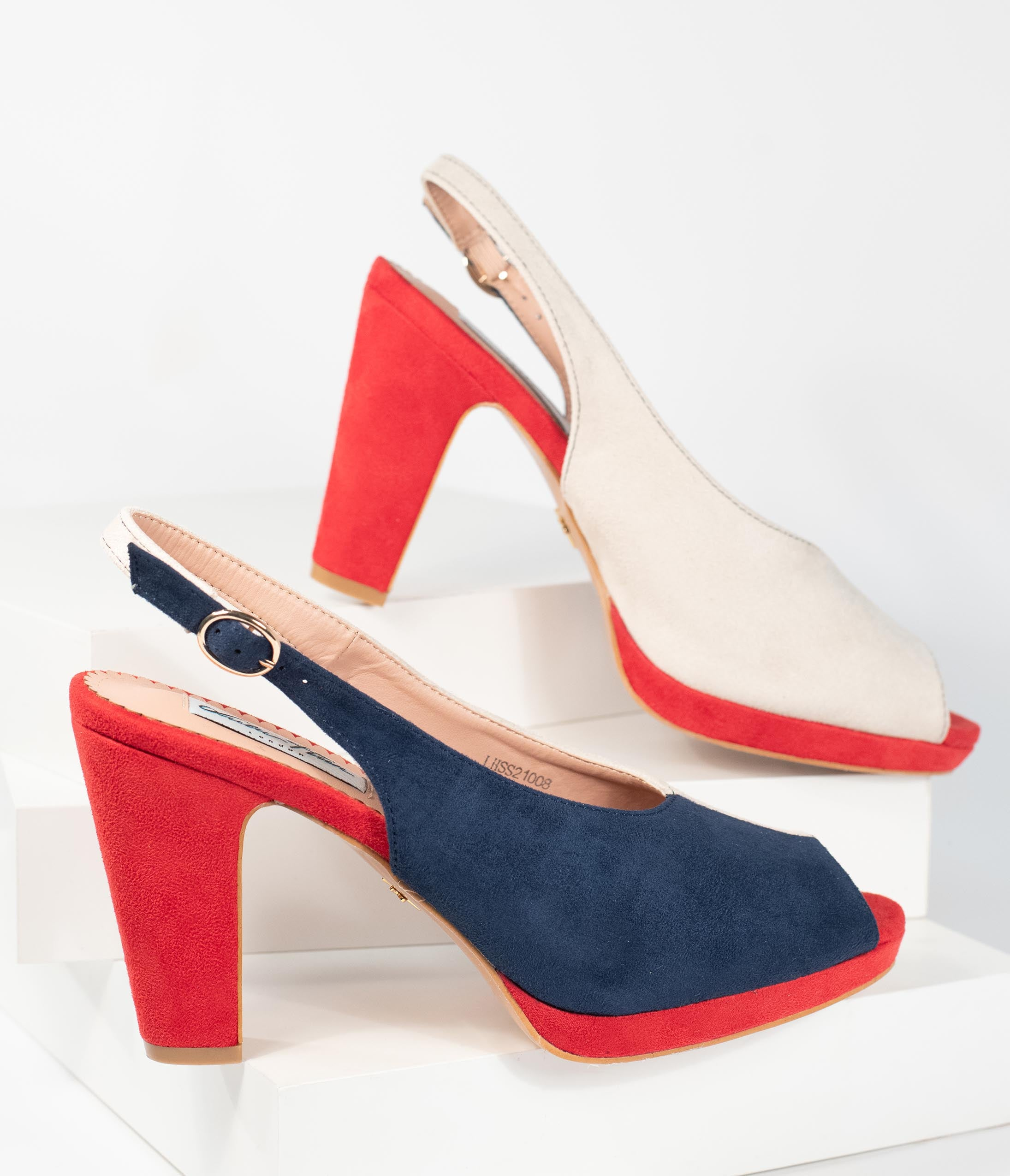 1940s Style Shoes, 40s Shoes, Heels, Boots Collectif Navy  Ivory Colorblock Suede Peep Toe Ada Heels $62.00 AT vintagedancer.com