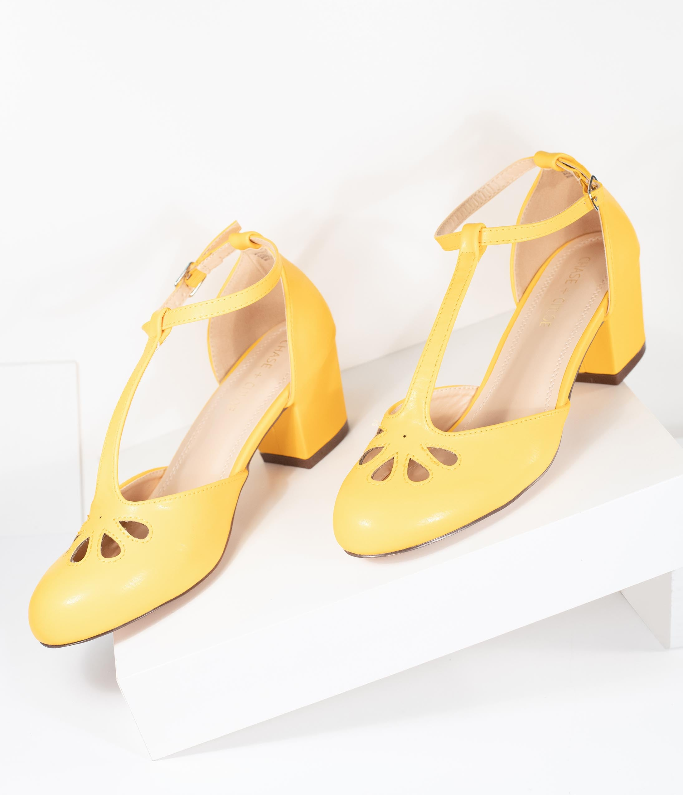 Retro Vintage Flats and Low Heel Shoes Yellow Leatherette Minny T-Strap Heels $48.00 AT vintagedancer.com