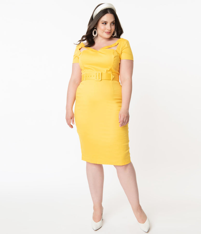 Collectif Plus Size 1960s Yellow Clodia Pencil Dress