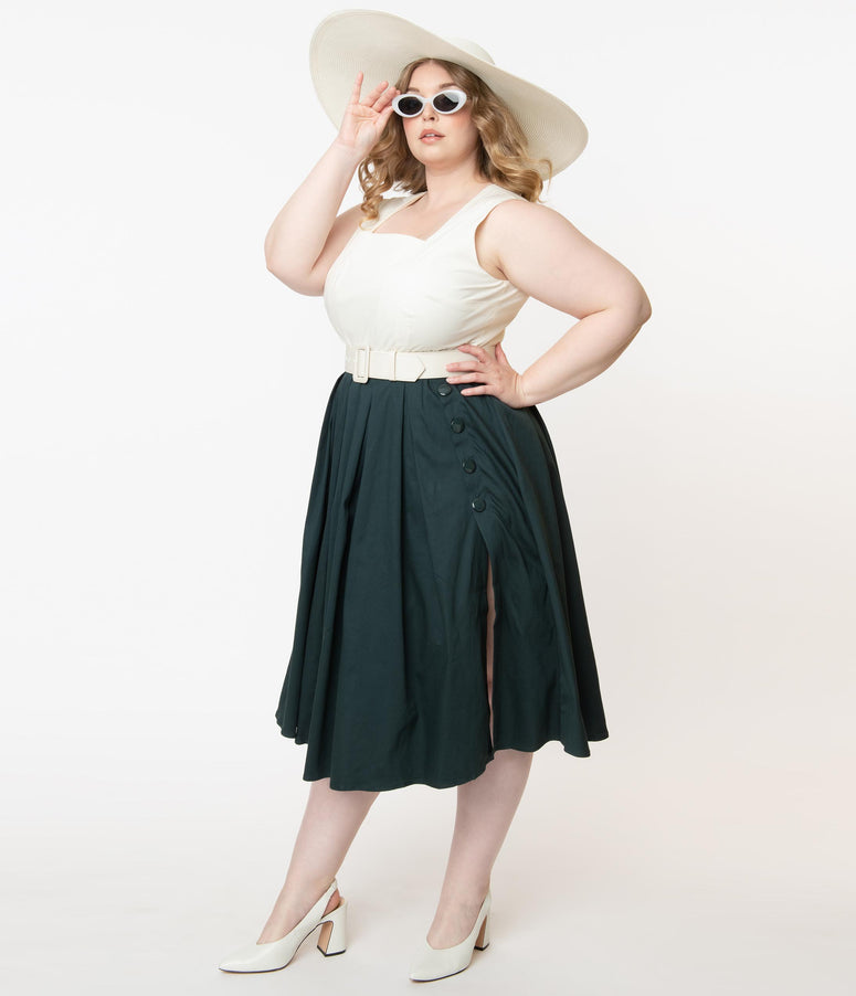 Collectif Plus Size Ivory & Emerald Colorblock Cheryl Swing Dress