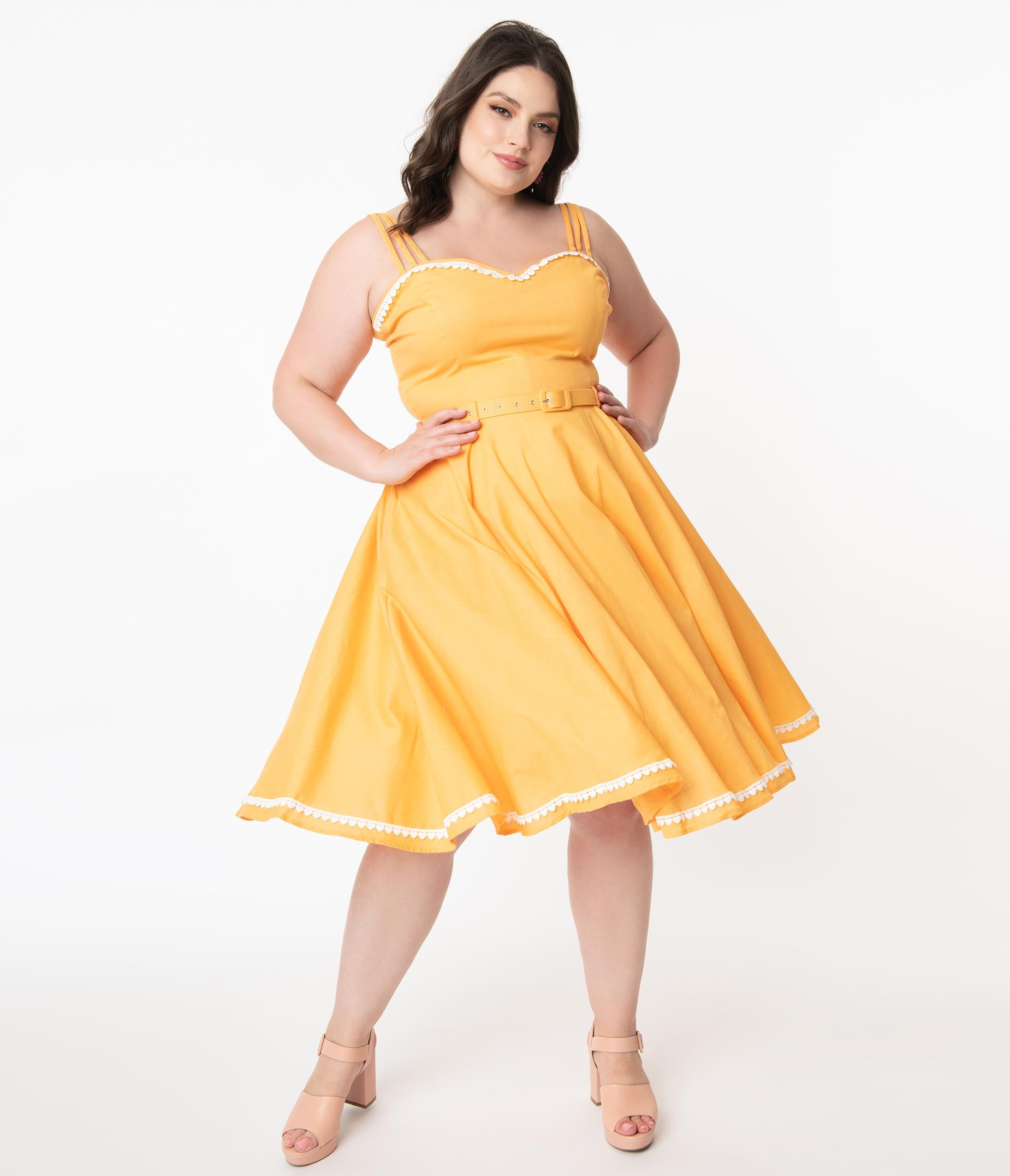 1950s Plus Size Dresses, Swing Dresses Collectif Plus Size Retro Orange Nova Swing Dress $84.00 AT vintagedancer.com