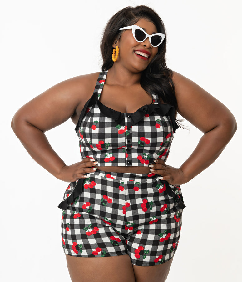 Collectif Plus Size Black Gingham & Red Cherry Emilia Shorts