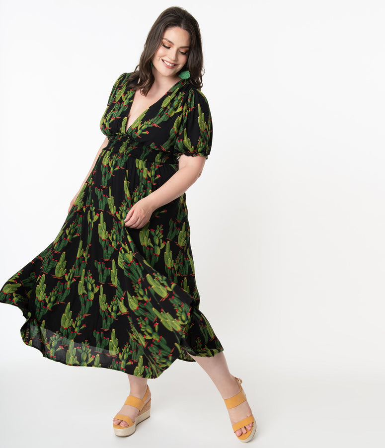 Collectif Plus Size Black & Cactus Print Juliette Maxi Dress