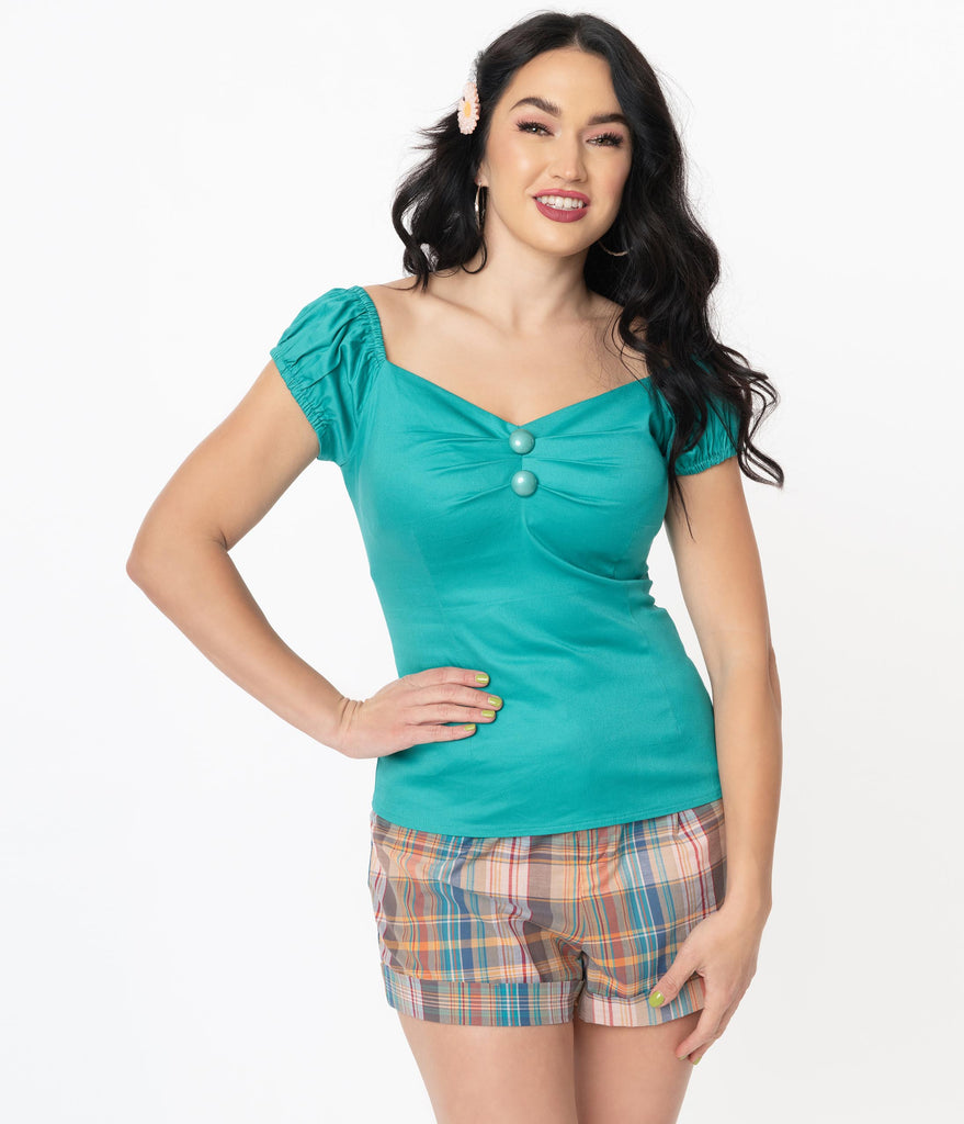 Collectif 1950s Teal Dolores Top