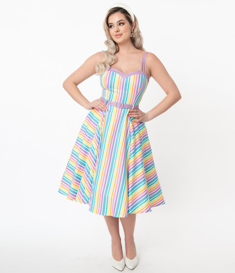 Collectif Pastel Rainbow Stripe Nova Swing Dress