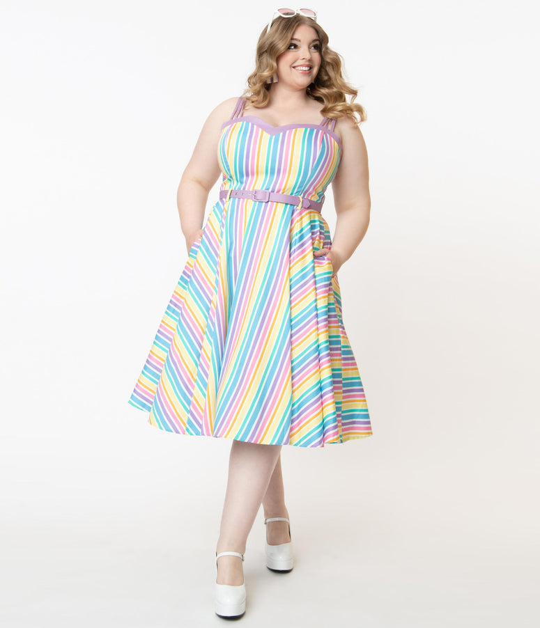 Collectif Plus Size Pastel Rainbow Stripe Nova Swing Dress