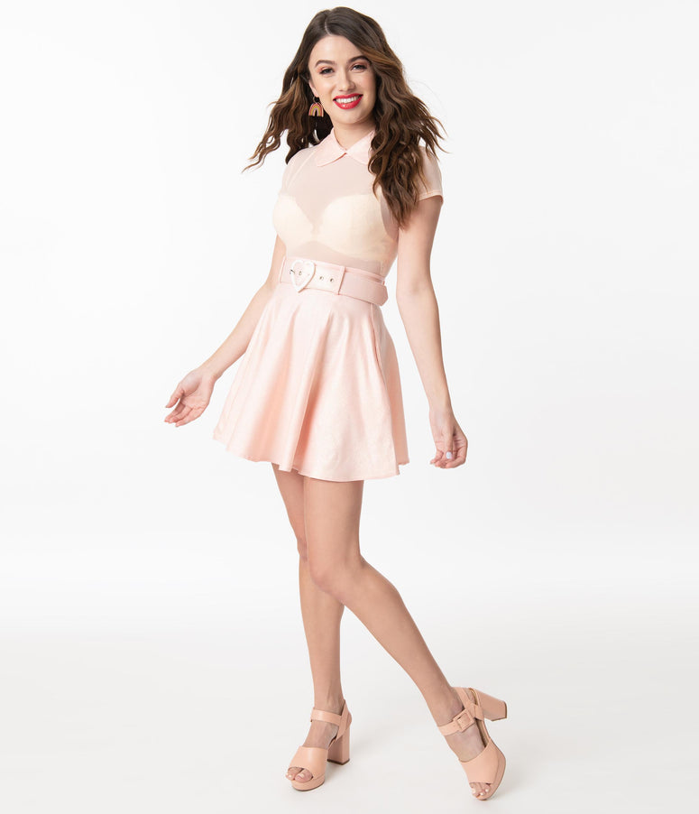 Collectif Pink Sparkle & Blush Mesh Adore Skater Dress