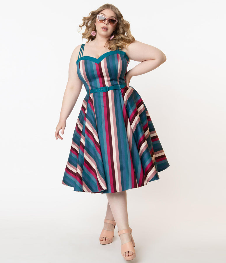 Collectif Plus Size Teal & Pink Stripe Paradise Nova Swing Dress