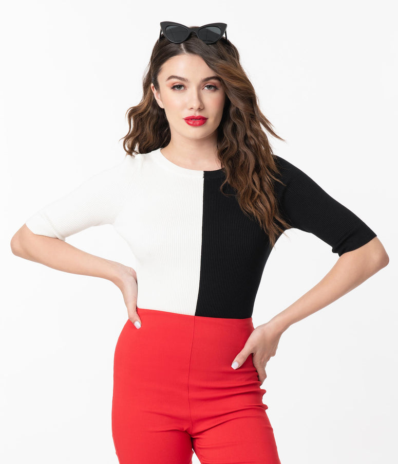 Collectif Ivory & Black Colorblock Savannah Sweater