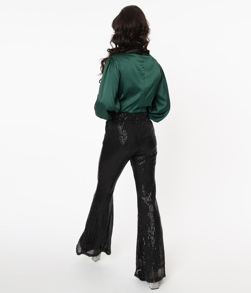 Black Sequin High Waist Flare Pants