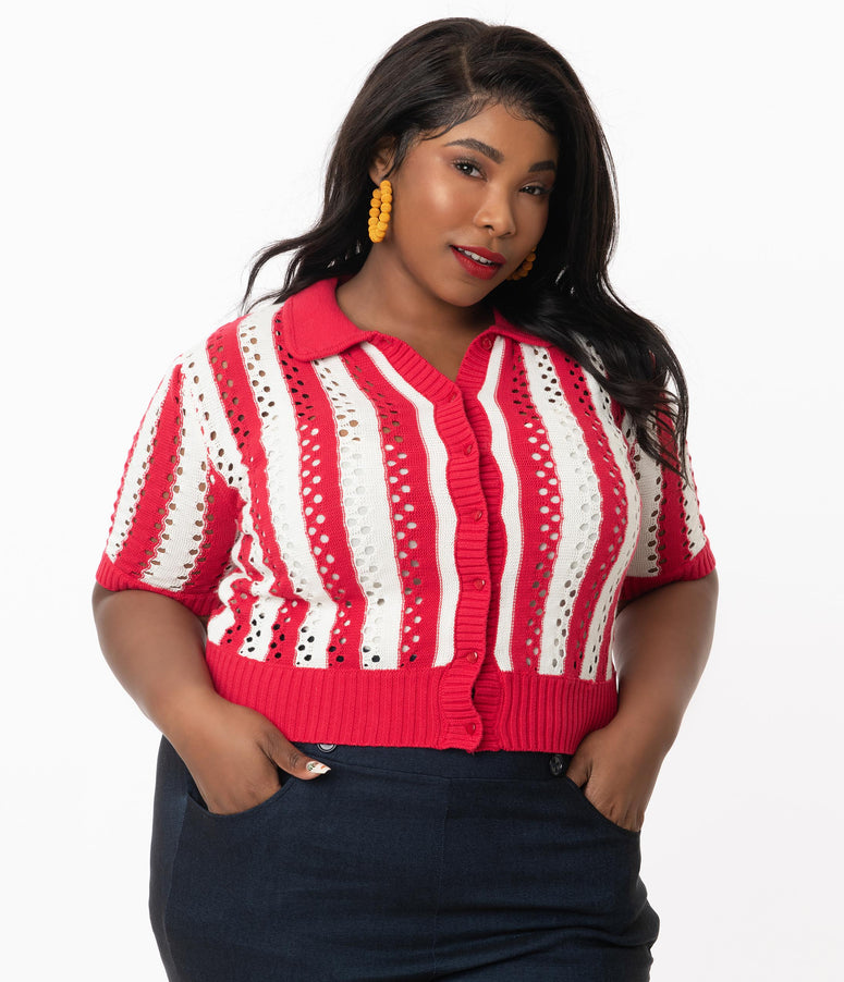 Collectif Plus Size Red & White Stripe Perforated Kokka Cardigan