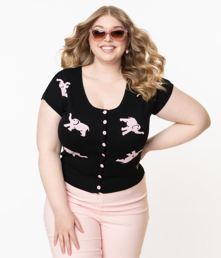 Collectif Plus Size Black & Pink Tipsy Elephants Minnie Cardigan