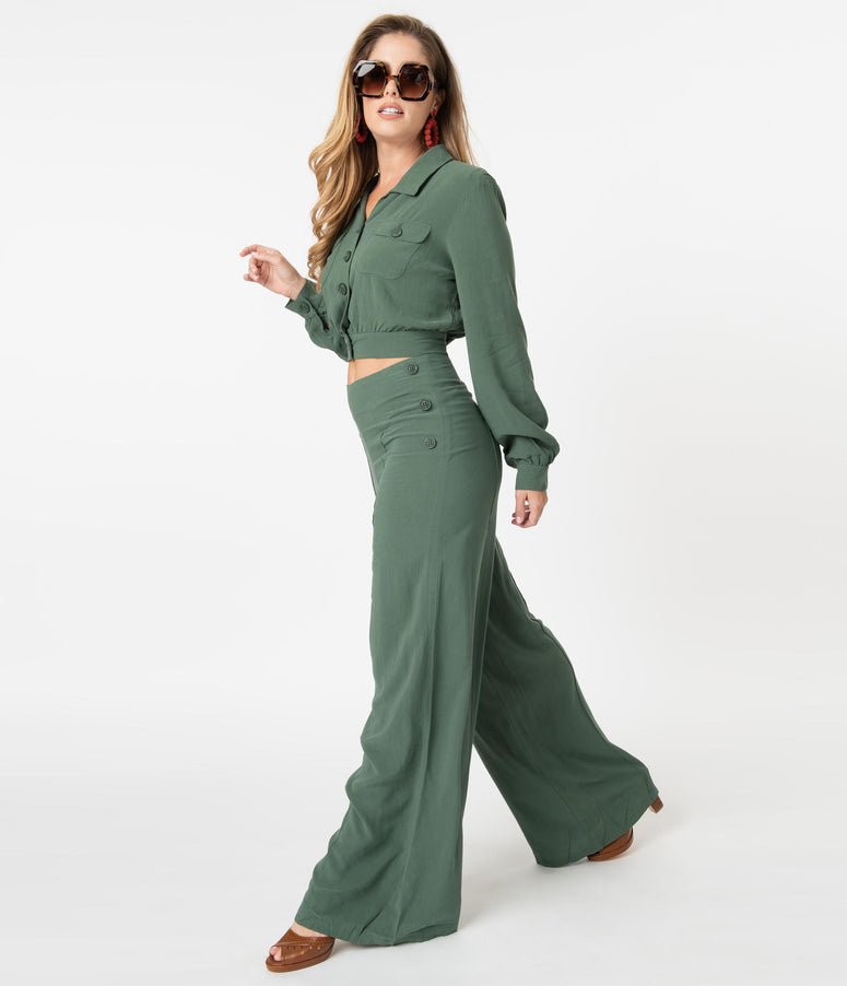 Collectif Retro Green Wide Leg Victoria Pants
