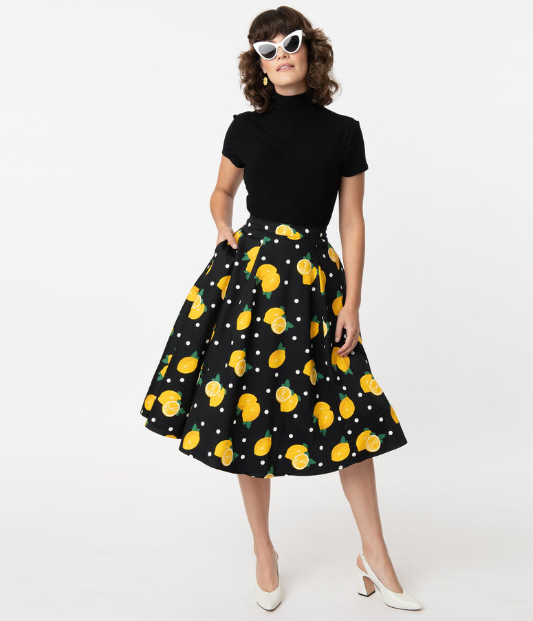 Collectif 1950s Black & Lemon Print Matilde Swing Skirt