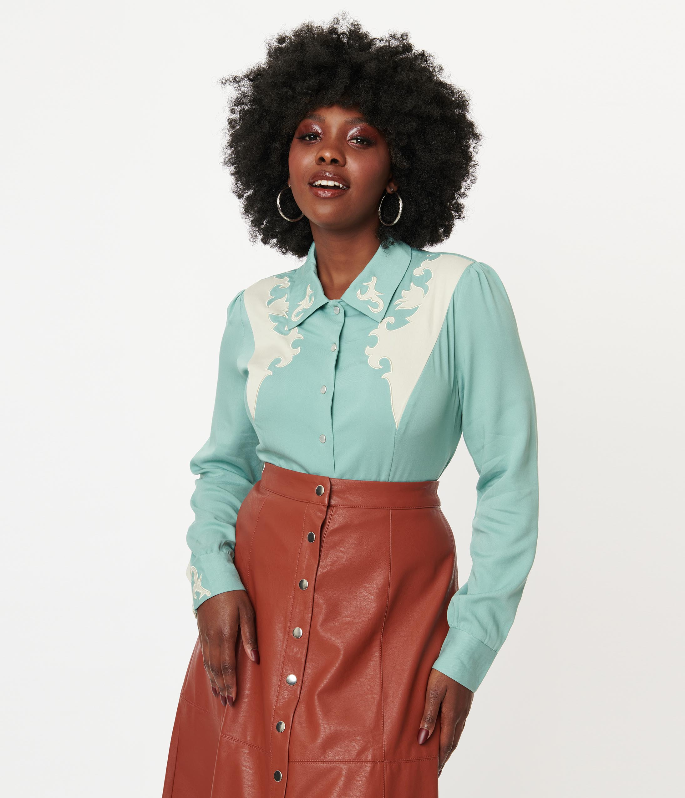 Vintage Western Wear Clothing, Outfit Ideas Collectif Sage Green Western Dolly Shirt $64.00 AT vintagedancer.com